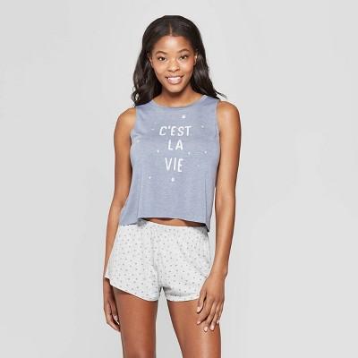 b7a906d39d568d Grayson Threads Women s C est La Vie Tank Top and Shorts Pajama Set - Blue