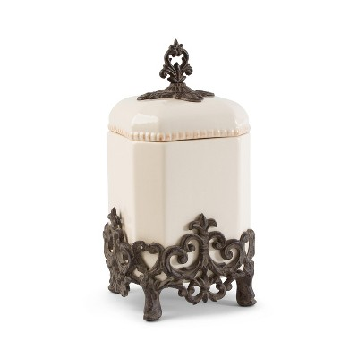 GG Collection 14-Inch Tall Provencial Cream Canister with Brown Metal Scrolled Base
