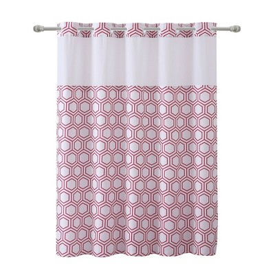 Metro Hex Shower Curtain with PEVA Liner Red - Hookless