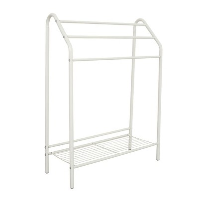 Free Standing Bathroom Rack with Storage Shelf - 3-Tier Bar Drying Holder Organizer, Hanging Towel, Blanket, Quilt for Bedroom, Laundry Room, White