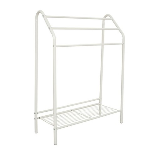 Free Standing Bathroom Rack with Storage Shelf - 3-Tier Bar Drying Holder Organizer, Hanging Towel, Blanket, Quilt for Bedroom, Laundry Room, White - image 1 of 2