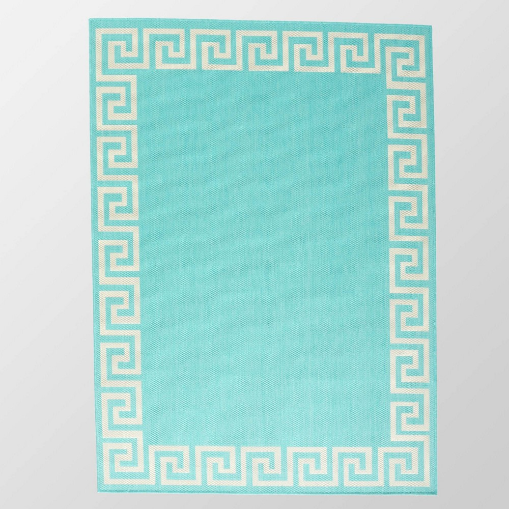5 39 3 34 X 7 39 Preveli Outdoor Rug Teal Ivory Christopher Knight Home