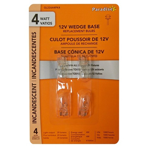 Paradise Garden 4 Pack 4W Wedge Bulb Clear - image 1 of 2