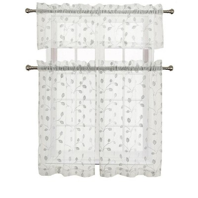 GoodGram Adler Metallic Embroidered Leaves Sheer Kitchen Curtain Set