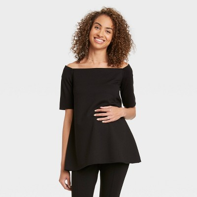 The Nines by HATCH™ Maternity Elbow Sleeve Off the Shoulder Ponte Top Black