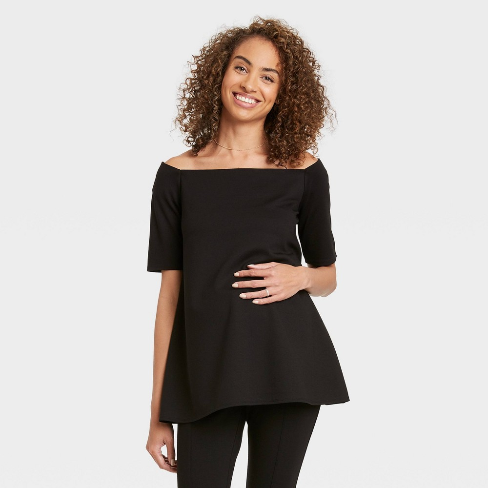 The Nines By Hatch 8482 Maternity Elbow Sleeve Off The Shoulder Ponte Top Black Xs