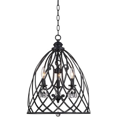 """Franklin Iron Works Black Bell Cage Pendant Chandelier 16"""" Wide Open Frame 3-Light Fixture for Dining Room House Foyer Kitchen"""