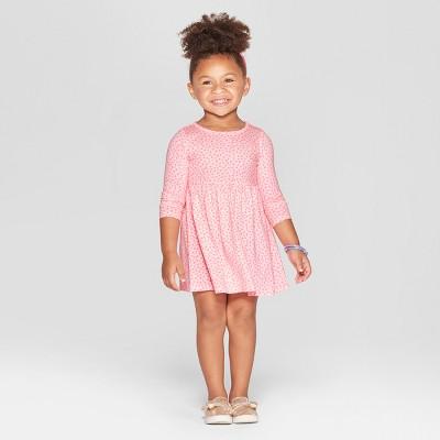 Toddler Girls' Heart All Over Print A-Line Dress - Cat & Jack™ Pink 18M