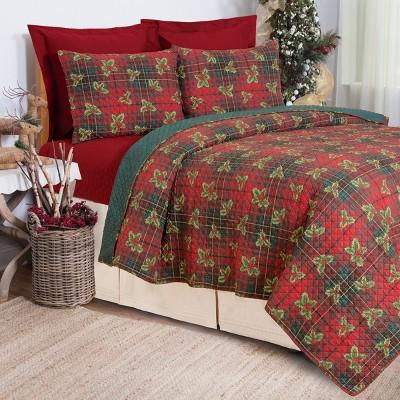 C&F Home Nicholas Plaid Rustic Lodge Theme Red Twin 2 Piece Quilt Set