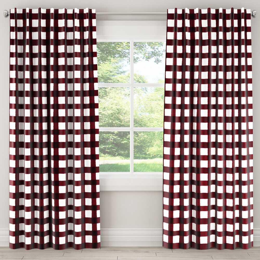 Unlined Curtain Buffalo Square Holiday Red 84L - Skyline Furniture