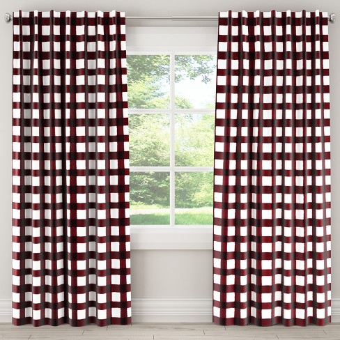 Unlined Curtains Buffalo Square Holiday Red- Skyline Furniture - image 1 of 4