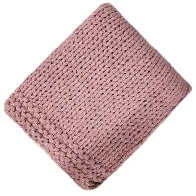 Chunky Knit Throw Blanket Blush - Threshold™