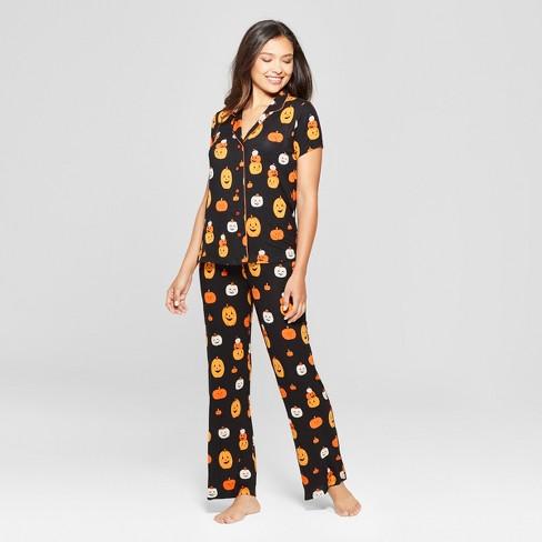 Nite Nite By Munki Munki Women s Halloween Pajama Set - Black   Target f740a4e97