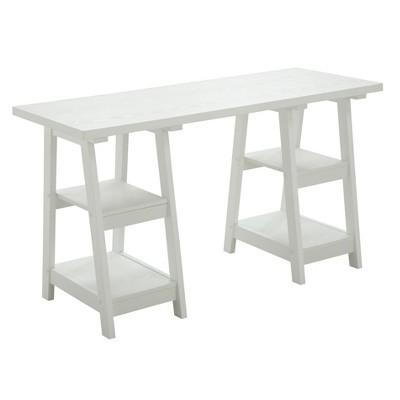 Double Trestle Desk White - Breighton Home