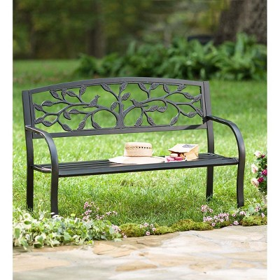 Attrayant Metal Outdoor Garden Bench With Tree Of Life Design   Plow ...