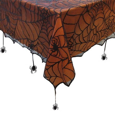 Crawling Halloween Spider Lace Lined Tablecloth - Black/Orange - Elrene Home Fashions