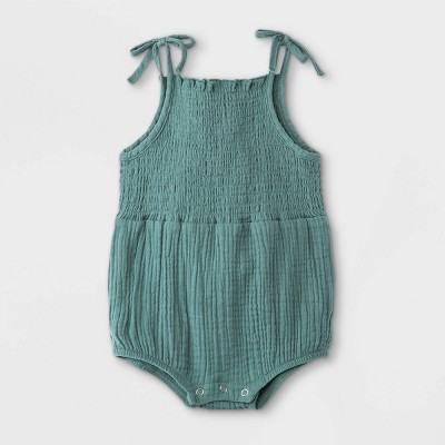 Grayson Mini Baby Girls' Bow Strap Gauze Bubble Bodysuit - Blue 6-9M