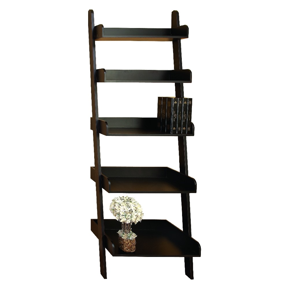 Updated traditional wood leaning shelf in burnished charcoal black featuring 5 tray shelving ladder frame. Ideal for homes and offices with limited space. Perfect platform for books and decorative vases.