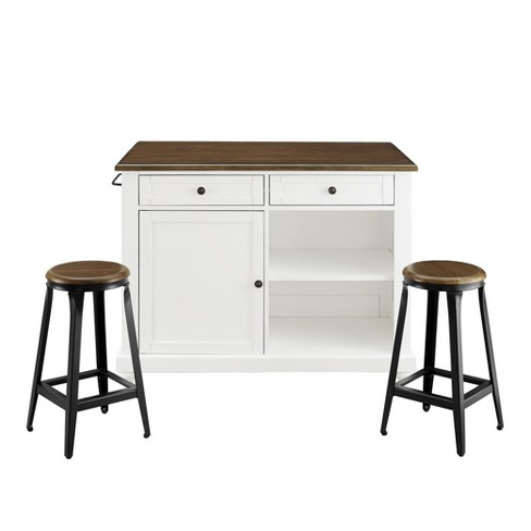 Mona Kitchen Island with 2 Stools White - Dorel Living - image 1 of 13