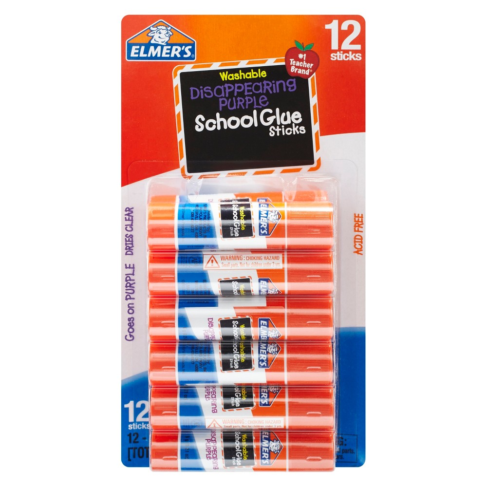 Elmer's Washable Glue Sticks Disappearing Purple - 12ct, Clear