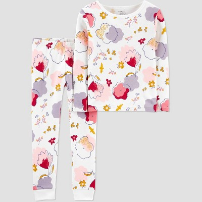 Toddler Girls' 2pc Organic Cotton Floral Pajama Set - little planet organic by carter's White 2T