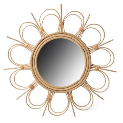 Fabulaxe Flower Decorative Shape Natural Rattan Wood Round Modern Boho Hanging Wall Mirror