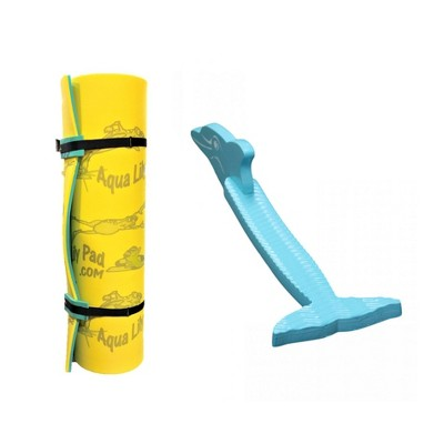 Aqua Lily Pad 15 Foot Original Water Playground Floating Foam Island, Yellow with Dolphin Swimming Pool Foam Noodle, Aqua Marine
