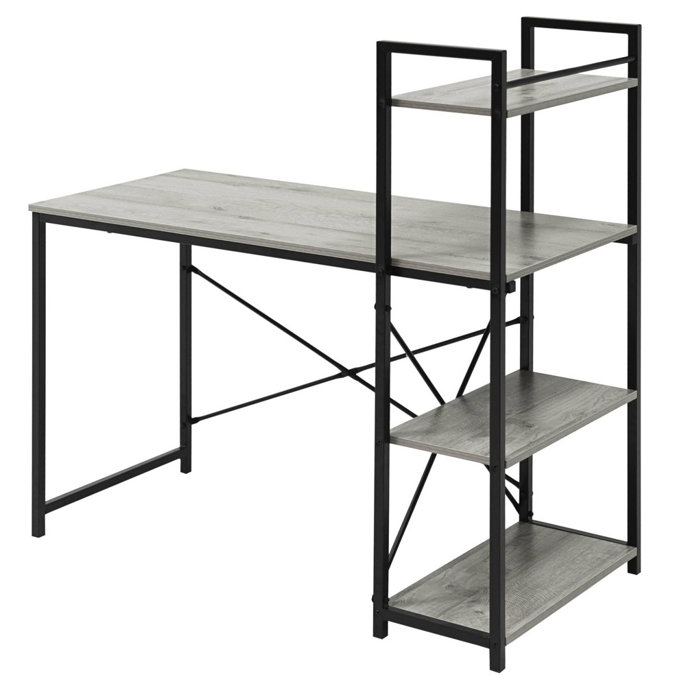 Niche Soho Desk With Bookcase Weathered Gray Niche