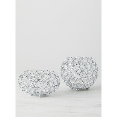 """Sullivans Set of 2 Crystal Candle Cups 4.25""""H & 3""""H Silver"""