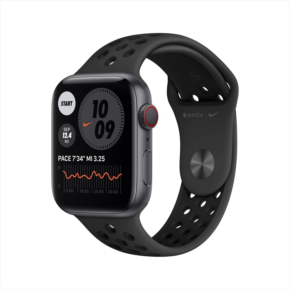 Apple Watch Nike Series 6 GPS + Cellular, 44mm Space Gray Aluminum Case with Anthracite/Black Nike Sport Band