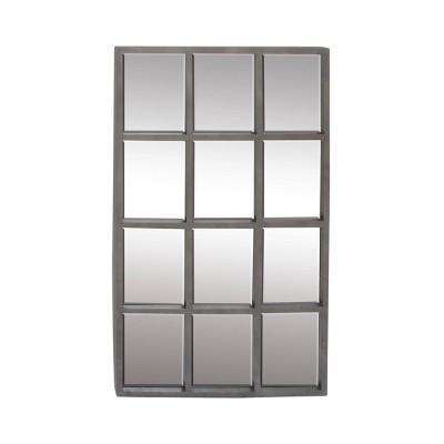 """44"""" x 27""""Contemporary Iron Rectangular Wall Mirror Gray - Olivia & May"""