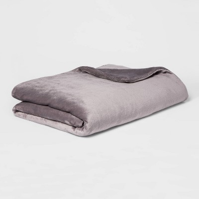 "55"" x 80"" 15lbs Micro Plush Weighted Blanket with Removable Cover Gray - Threshold™"