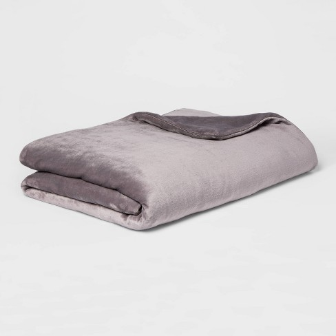 "55"" x 80"" Micro Plush Weighted Blanket with Removable Cover - Threshold™ - image 1 of 4"