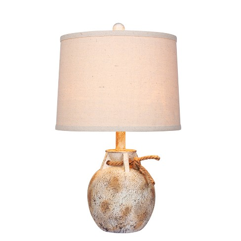 Distressed Jug with Rope Collar Resin Table Lamp Antique White  - Fangio Lighting - image 1 of 2