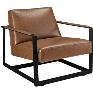 Seg Upholstered Vinyl Accent Chair Brown - Modway