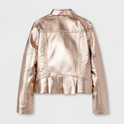 8204555990ef Girls  Metallic Moto Outerwear Jackets - Art Class™ Gold   Target