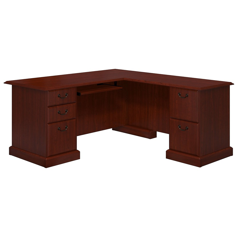 Bennington L-Desk from kathy ireland Office by Bush Business Furniture., Red