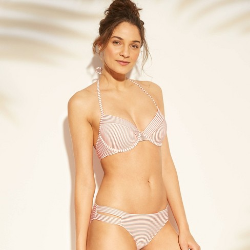 7db329a9dd Women s Cabana Light Lift Ribbed Bikini Top - Shade   Shore™ Coral Stripe  36D   Target