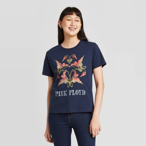 Women's Pink Floyd Floral Print Short Sleeve Graphic T-Shirt - Navy - image 1 of 4