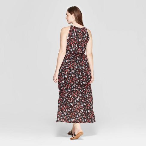 df617e649f Women's Plus Size Floral Print Sleeveless Crew Neck Maxi Dress - Universal  Thread™ Black