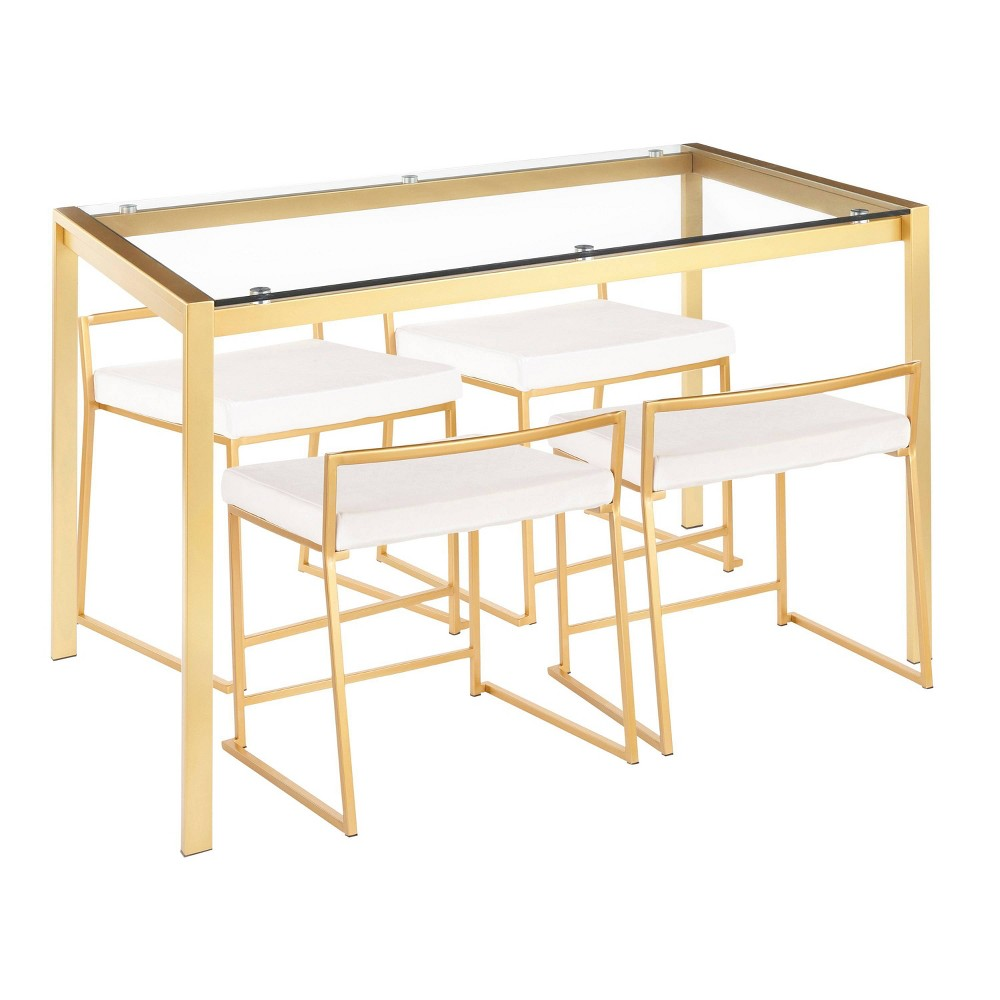 5pc Fuji Contemporary Dining Table Set Velvet Gold/White - Lumisource