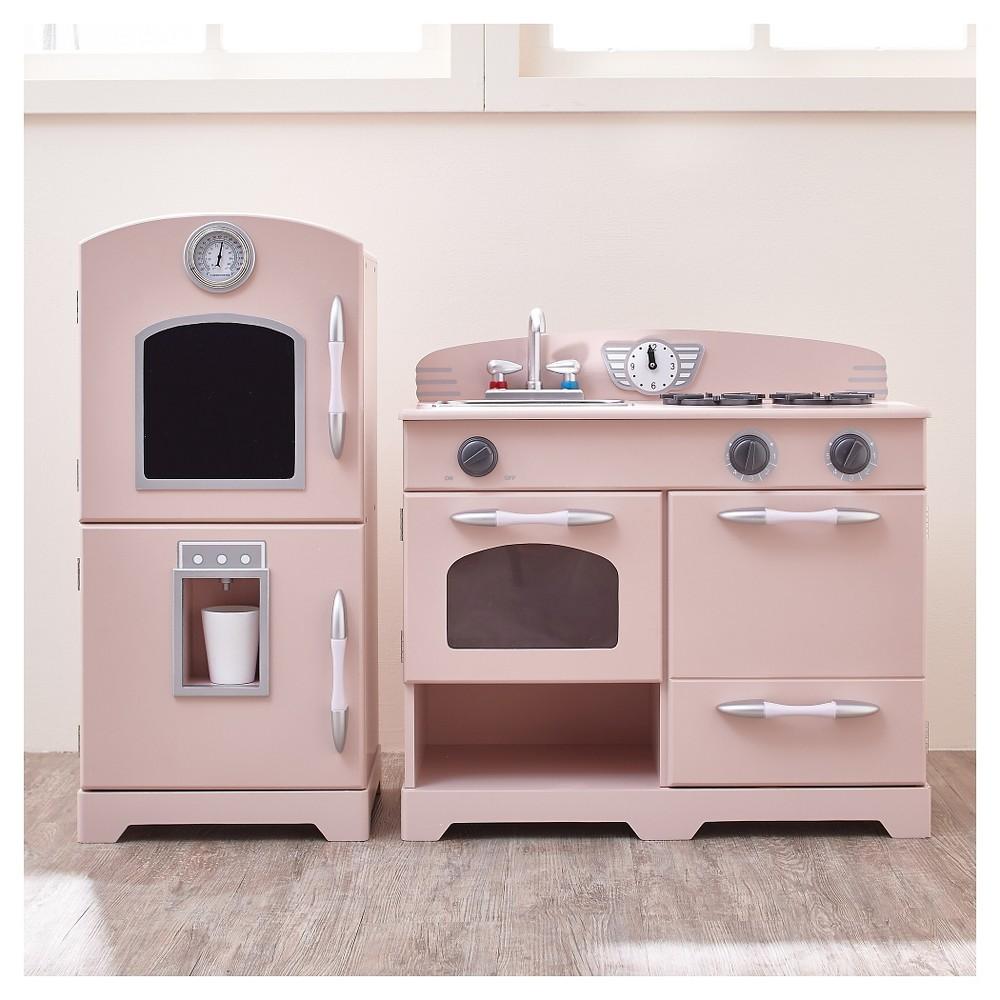 Teamson Kids Retro Wooden Play Kitchen - Pink (2pc)