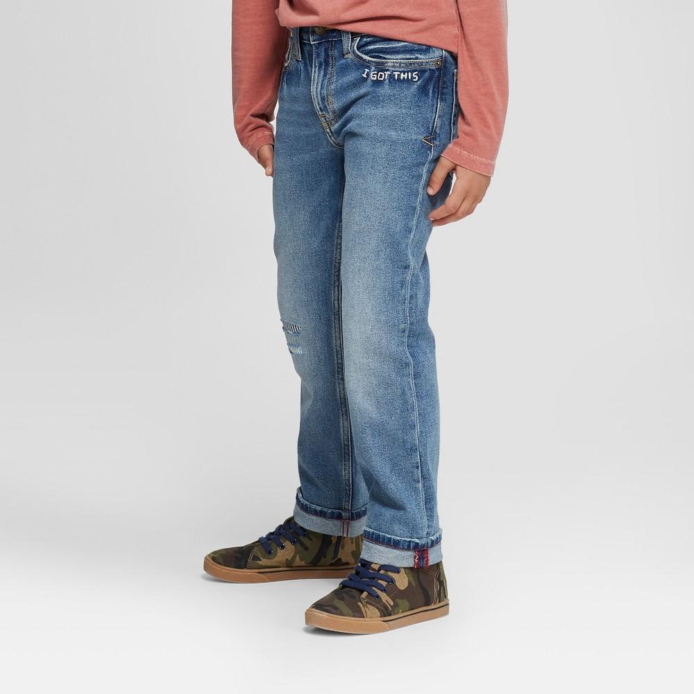 Boys' Straight Fit Denim Pants - Cat & Jack Medium Blue 16 Husky