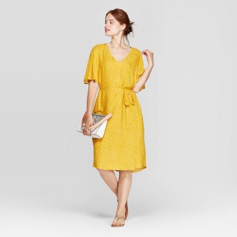 Women's Regular Fit Short Sleeve V-Neck Tie-Waist Woven Dress - A New Day™ Yellow - image 1 of 3