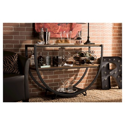 Blakes Rustic Industrial Style Textured Finish Metal Distressed Wood Console Table - Antique Black - Baxton Studio : Target