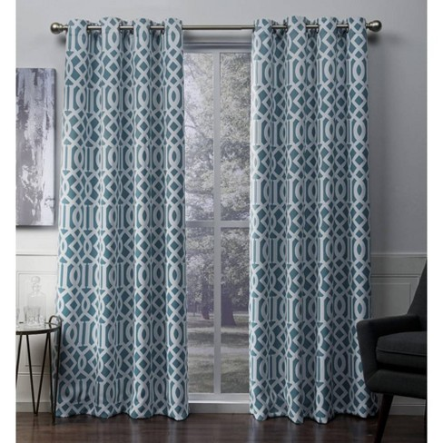Scrollwork Gated Print Sateen Woven Room Darkening Grommet Top Window Curtain Panel Pair - Exclusive Home™ - image 1 of 5