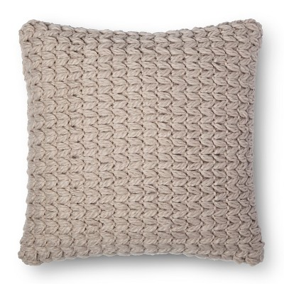 Sand Chunky Knit Square Throw Pillow - Room Essentials™