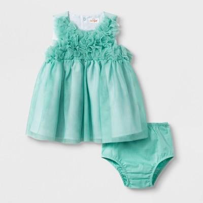 Baby Girls' Ruffle Bodice Dress - Cat & Jack™ Green 0-3M