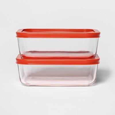 4 Cup 2pk Rectangular Food Storage Container Set Red - Room Essentials™