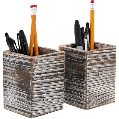 Rustic Wood Pencil Holder (2 Pack)